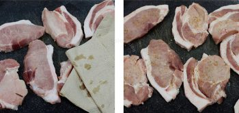 Drying pork chops with paper towels before seasoning