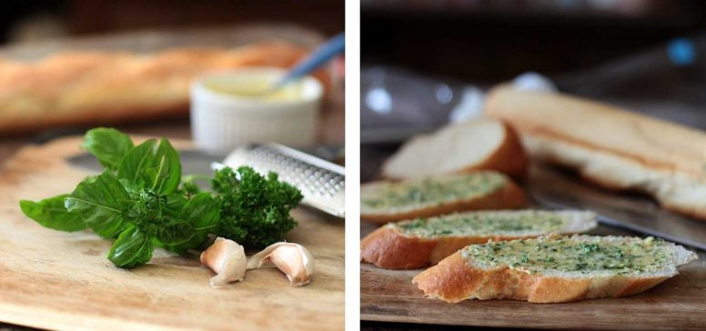 Basil, parsley, garlic and bread slices