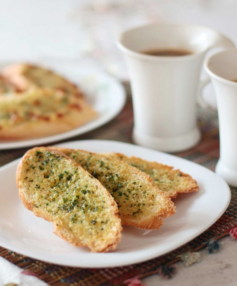 Herb Garlic Toast with Coffee