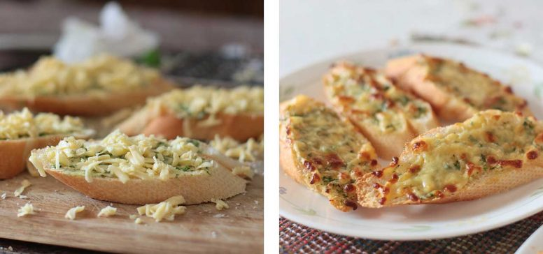 Garlic toast topped with cheese