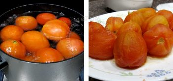 Boiling tomatoes in a pot of water to loosen the skin