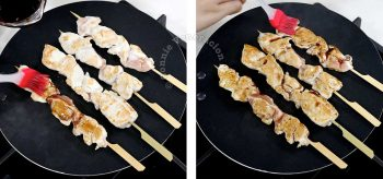 Brushing skewered chicken with honey and Balsamic vinegar during grilling