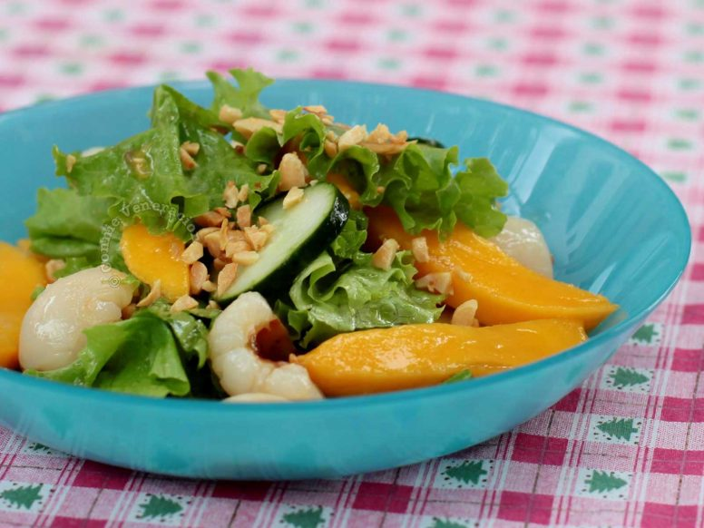 Lychee Mango Salad Sprinkled with Nuts