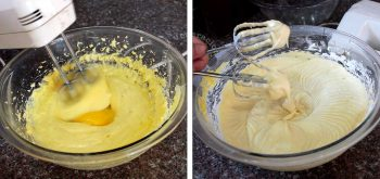 Adding eggs and flour to creamed butter and sugar