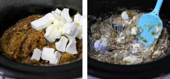 Stirring cream cheese into caramelized onions