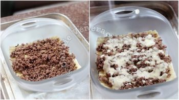 Spreading browned beef and white sauce over lasagna noodles in baking dish