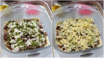 Drizzling pesto and sprinkling cheese over meat and lasagna in baking dish