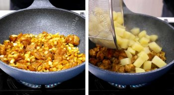 Cooking chicken curry and potatoes in wok