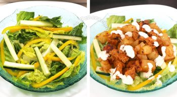 Salad greens topped with chicken potato curry