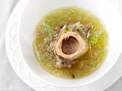 Slow cooked beef bone marrow soup