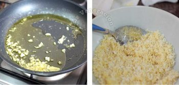 Sauteeing garlic in butter and mixing it with panko