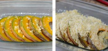 Squash slices drizzled with garlic butter and topped with panko and Parmesan