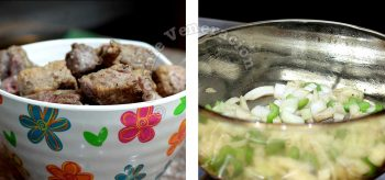Left: browned beef; right: sauteeing garlic, onion and celery in amber glass pot