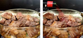 Pouring red wine over browned beef in pot