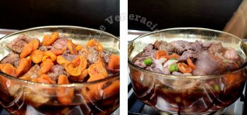 Adding dried apricots to beef and red wine in pot