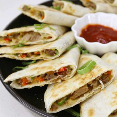 Beef Brisket BBQ Quesadillas Served with Chili Sauce for Dipping
