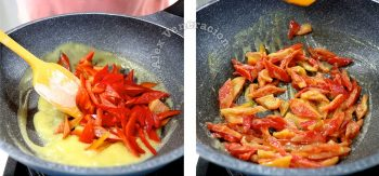 Diced red bell pepper stirred in roux