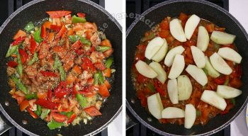 Vegetables and apple wedges in pan