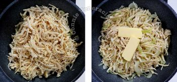 Shredded chicken with butter on top