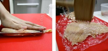 Splitting a chicken breast fillet before pounding with a mallet