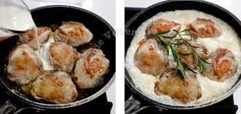 Adding broth and cream to chicken browned in butter