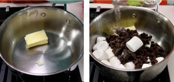 Melting butter, chocolate and marshmallows in pan
