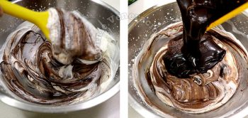 Folding in whipped cream to melted chocolate and marshmallows