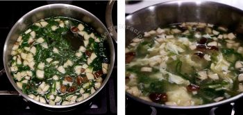 Simmering shiitake with scallions in duck broth
