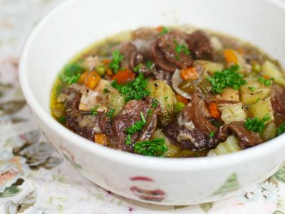 Holiday beef stew in Christmassy bowl