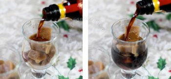 Pouring Kahlua into glasses with frozen coffee cubes
