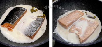 Poaching salmon in milk with bay leaves and cardamom