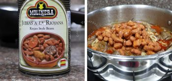 Adding canned beans to stewed lamb shanks in pot
