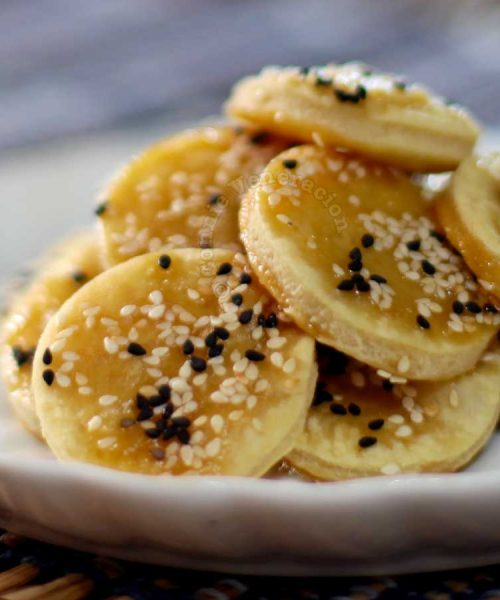 Honey and sesame seed biscuits made from excess pie crust
