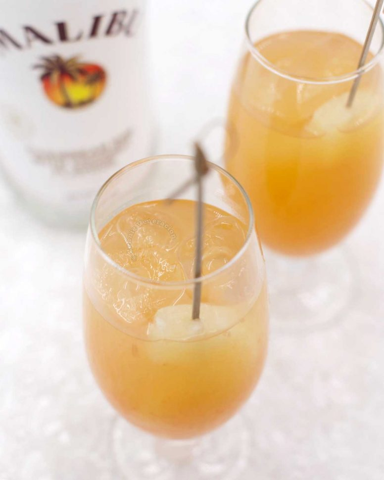 Pineapple, grapefruit and coconut rum cocktail