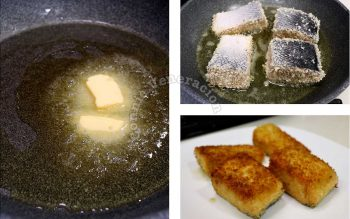 Frying breaded salmon fillet in butter and olive oil