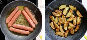 Frying split sausages and apple wedges in butter