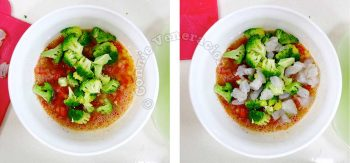 Adding blanched broccoli and chopped raw shrimps to eggs and tomatoes