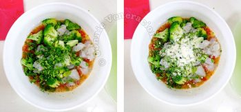 White bowl with beaten eggs, chopped tomatoes and shrimps, blanched broccoli and Parmesan