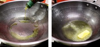 Heating olive oil and butter in a pan
