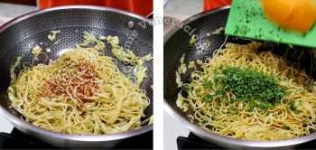 Adding chili flakes and chopped parsley to pasta in pan