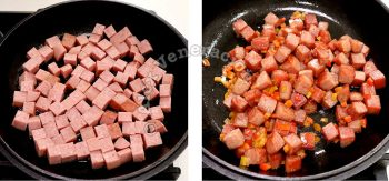 Browning cubed SPAM in pan