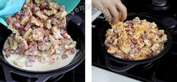 Sprinkling cheese on top of unbaked 2-Cheese SPAM and Waffle Breakfast Casserole
