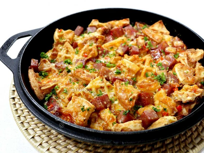 2-Cheese SPAM and Waffle Breakfast Casserole