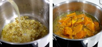 Pouring broth into pan and adding roasted squash