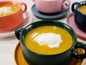 Squash soup with whipped cream
