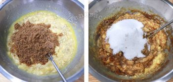 Stirring brown and white sugar to mashed bananas and butter