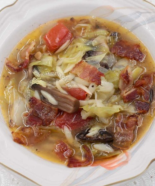 Cabbage and tomato soup with orzo and bacon