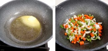 Sauteeing carrot, celery and onion in butter