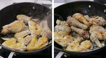 Browning bone-in chicken in a pan