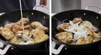 Adding spices to browned chicken in pan